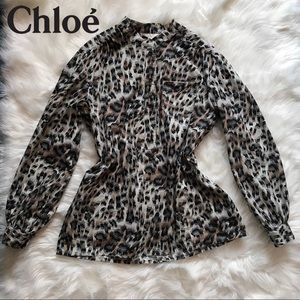 Stunning Authentic Chloe Leopard Print Blouse